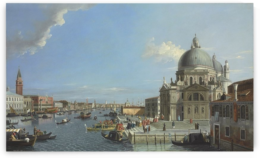 The Grand Canal, Venice, with a procession entering the Santa Maria della Salute by Canaletto