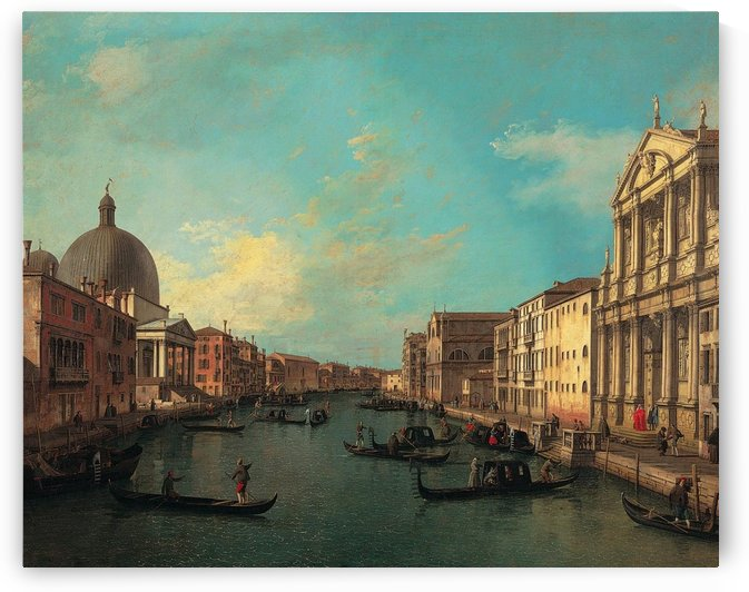 Venezia with figures along the canal by Canaletto