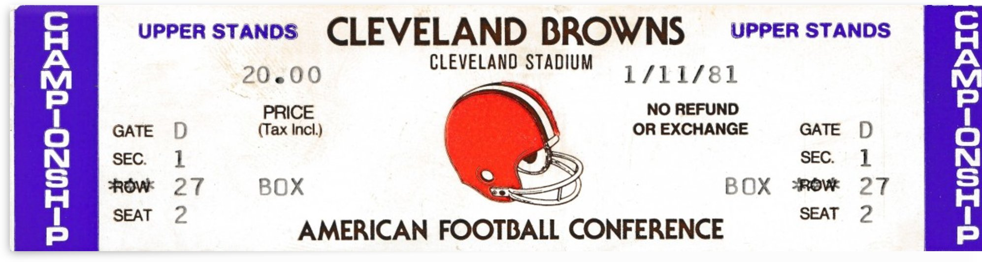 1981 cleveland browns phantom ticket by Row One Brand