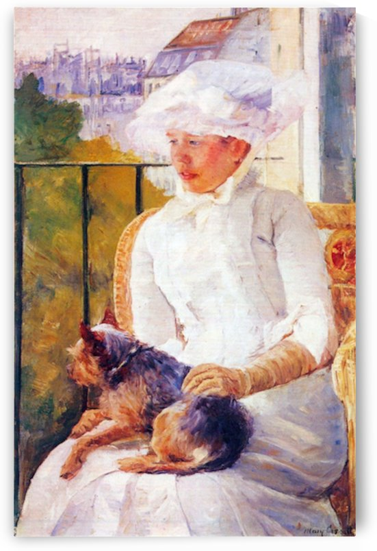 Lady with dog by Cassatt by Cassatt