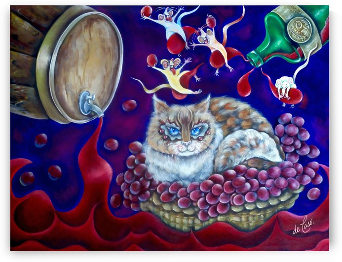 Wine king kitten and mice having fun around it by deCaso Art