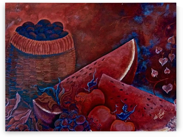 Basket red fruits watermelons grapes plums and flowers by deCaso Art