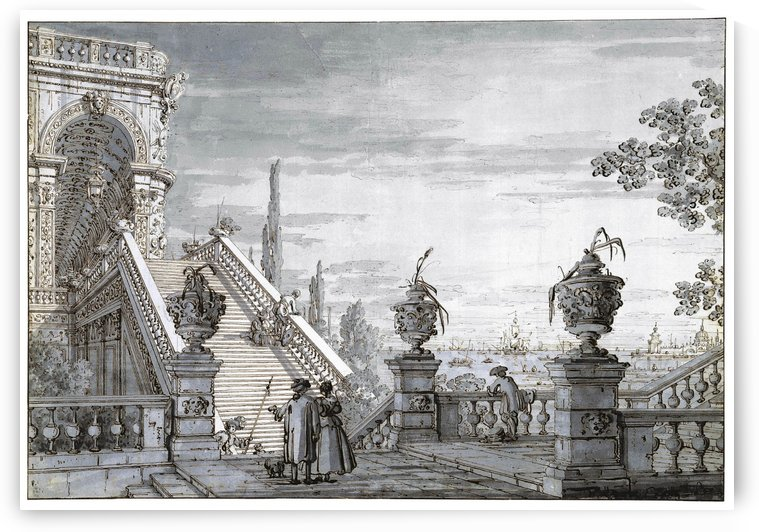 Monuments Staircases in Venice by Canaletto
