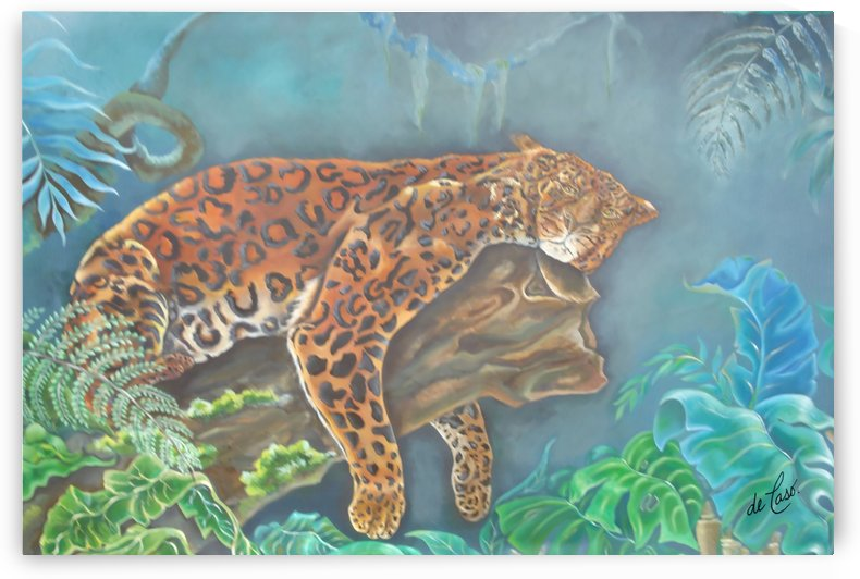 Gorgeous leopard resting in the jungle during the day by deCaso Art
