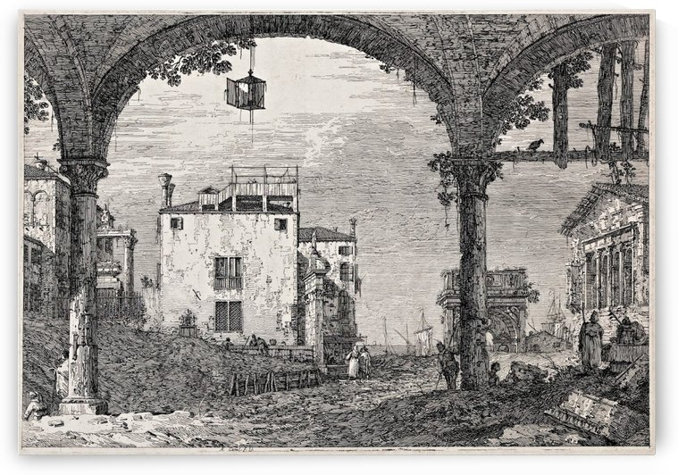 The portico with a lantern by Canaletto