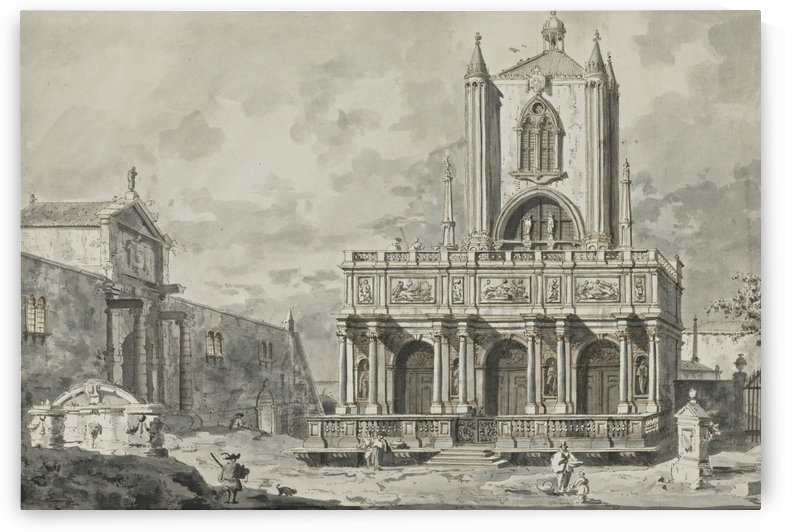 Capricio with the Loggetta of Sansovino as portico of an imaginary gothic tower by Canaletto