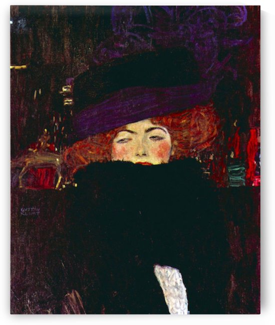 Lady with hat and feather by Klimt by Klimt