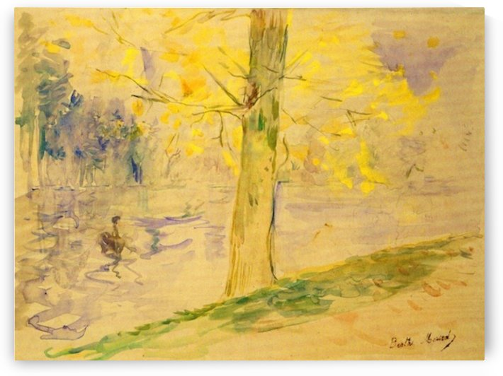 Lake in Bois de Boulogne by Morisot by Morisot