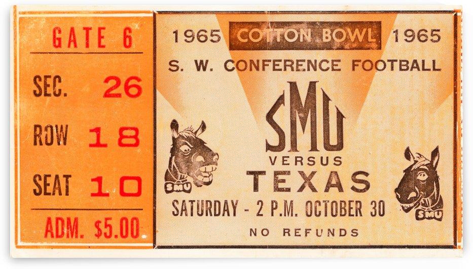 1965 texas longhorns smu mustangs college football by Row One Brand
