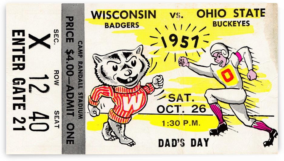 1957 wisconsin badgers college football by Row One Brand