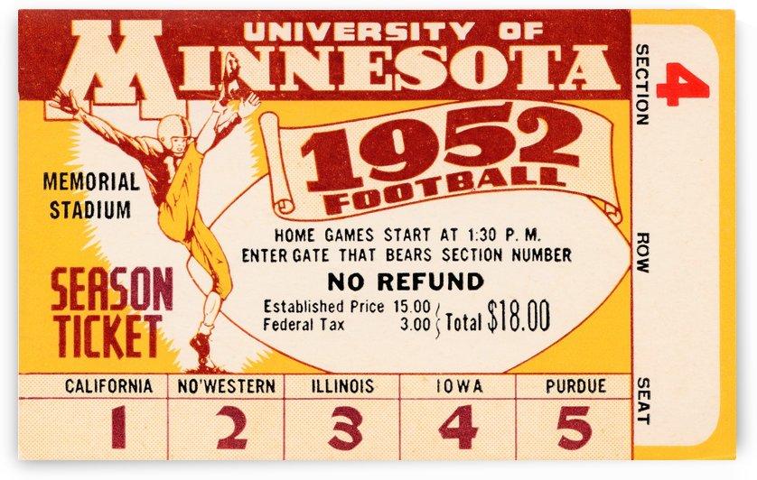 1952 minnesota golden gophers football season ticket by Row One Brand