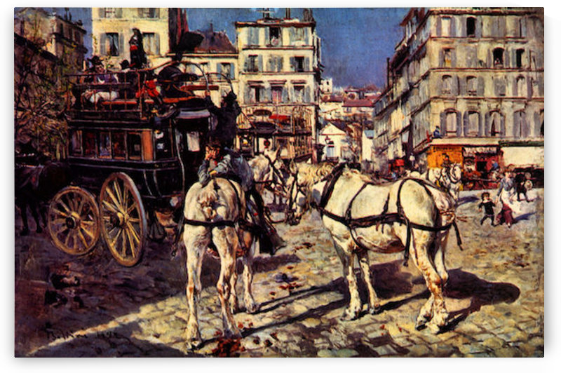 Buses on the Pigalle place in Paris by Giovanni Boldini by Giovanni Boldini