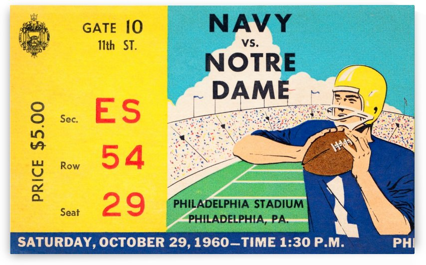 1960 navy notre dame ticket stub canvas by Row One Brand
