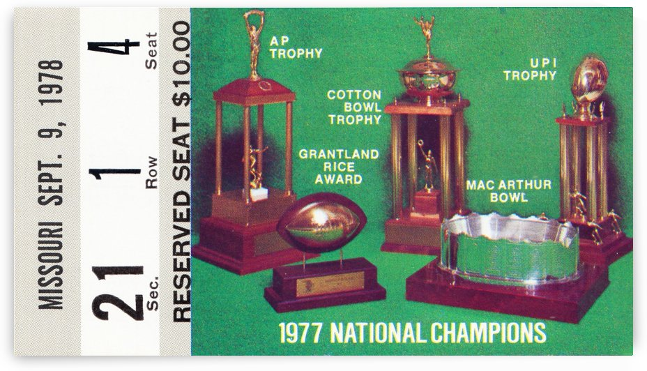 1978 notre dame football ticket stub prints by Row One Brand