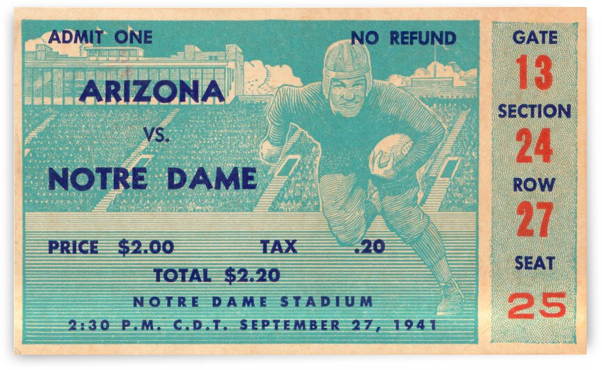 1941 arizona notre dame football frank leahy first game by Row One Brand