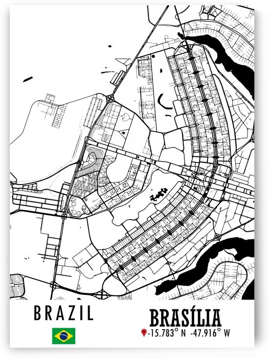 Brasilia BRAZIL Map by Artistic Paradigms