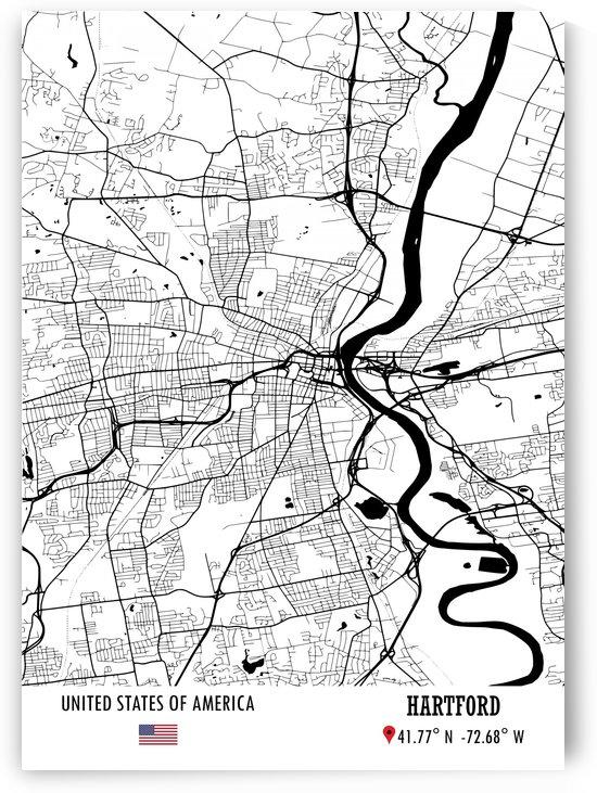 Hartford USA Map by Artistic Paradigms