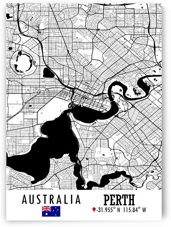 Perth AUSTRALIA Map by Artistic Paradigms