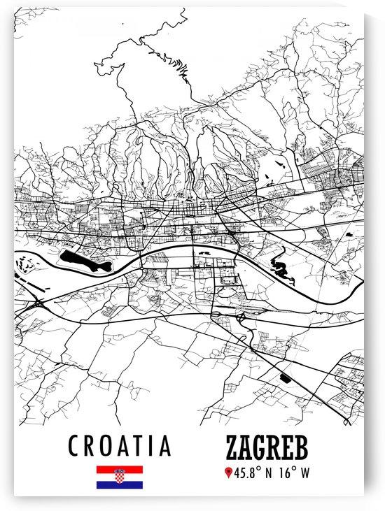 Zagreb CROATIA Map by Artistic Paradigms