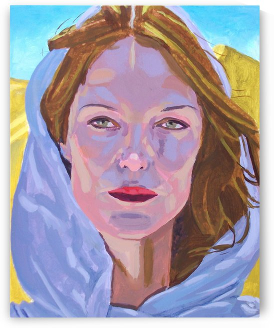 Beautiful blonde woman under a hard sun - Modern, Realism, Figurative, Portraiture, Acrylic  series by Nywa Art Project