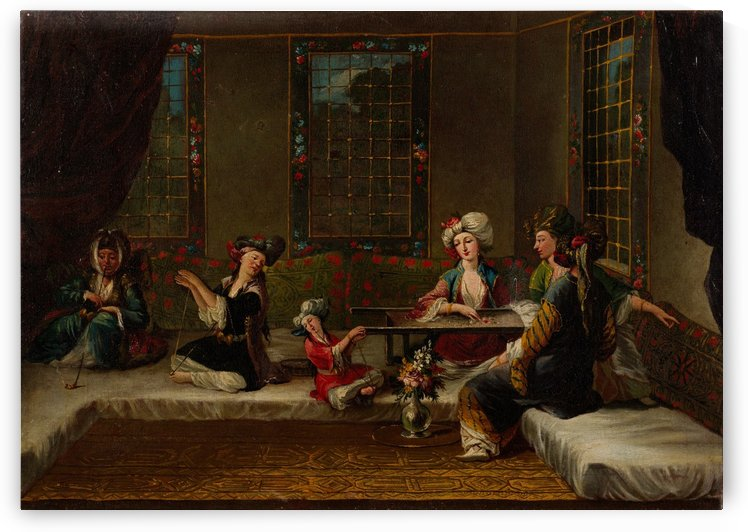 Women Embroidering by Jean Baptiste Vanmour