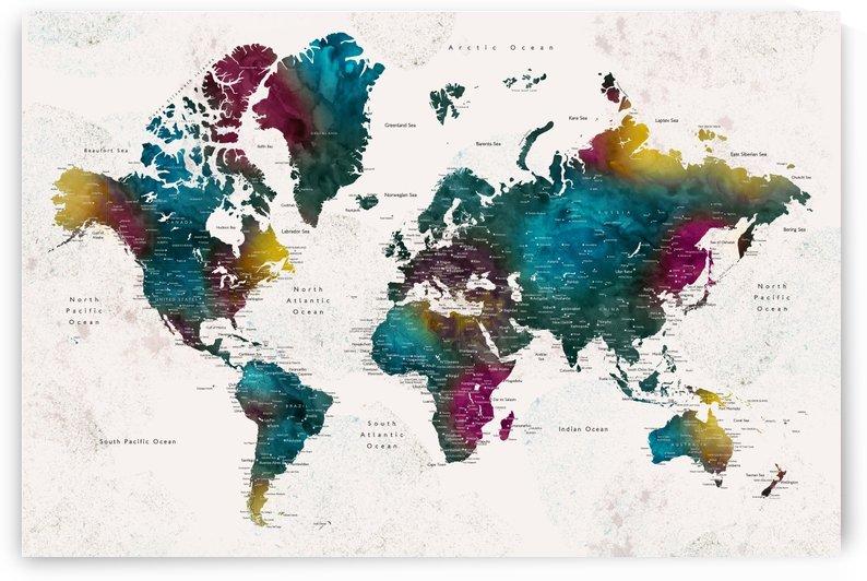 Detailed watercolor world map Charleena by blursbyai