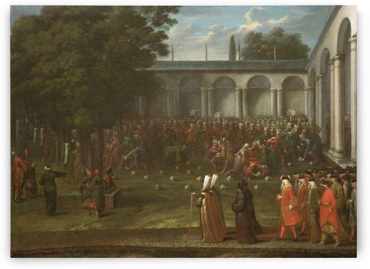 Ambassadeur Cornelis Calkoen doorschrijdt de tweede binnenhof van het paleis, waar een maaltijd van de Janitsaren plaatsvindt, op weg naar de audientie bij sultan Ahmed III, 14 september 1727 by Jean Baptiste Vanmour
