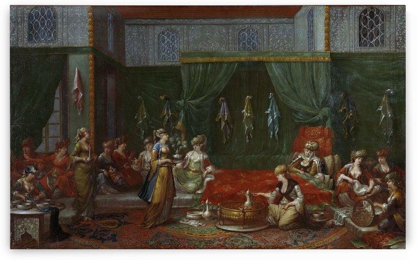 Kraamkamer van een voorname Turkse vrouw, 1727-1737 by Jean Baptiste Vanmour