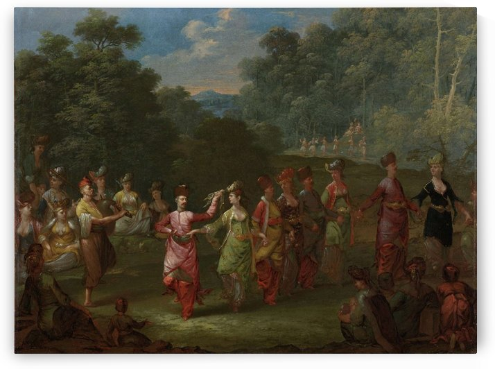 Greek Men and Women Dancing the Khorra by Jean Baptiste Vanmour
