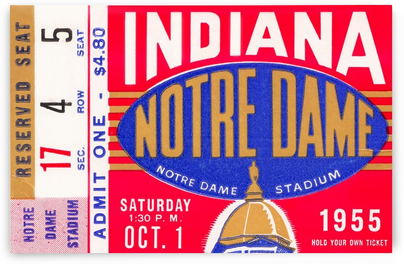 1955 indiana notre dame football ticket stub wall art canvas posters wood by Row One Brand