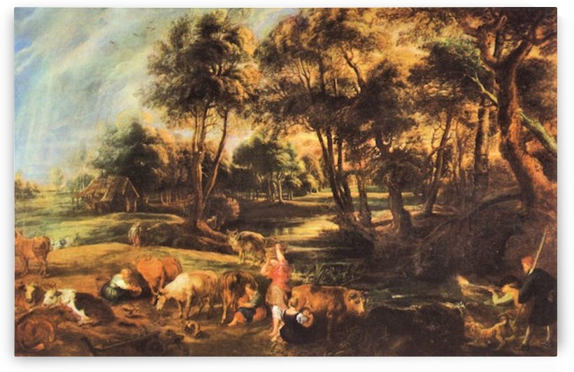 Landscape with cows and duck hunters by Rubens by Rubens