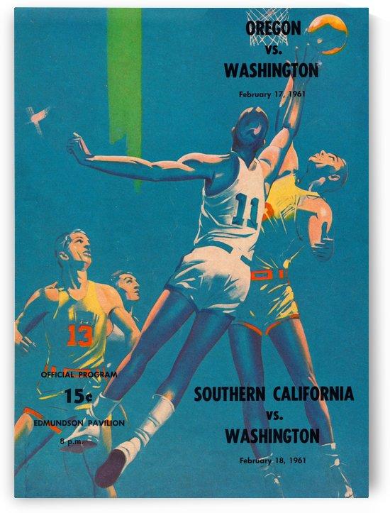 1961 Vintage Washington Huskies Basketball Art by Row One Brand