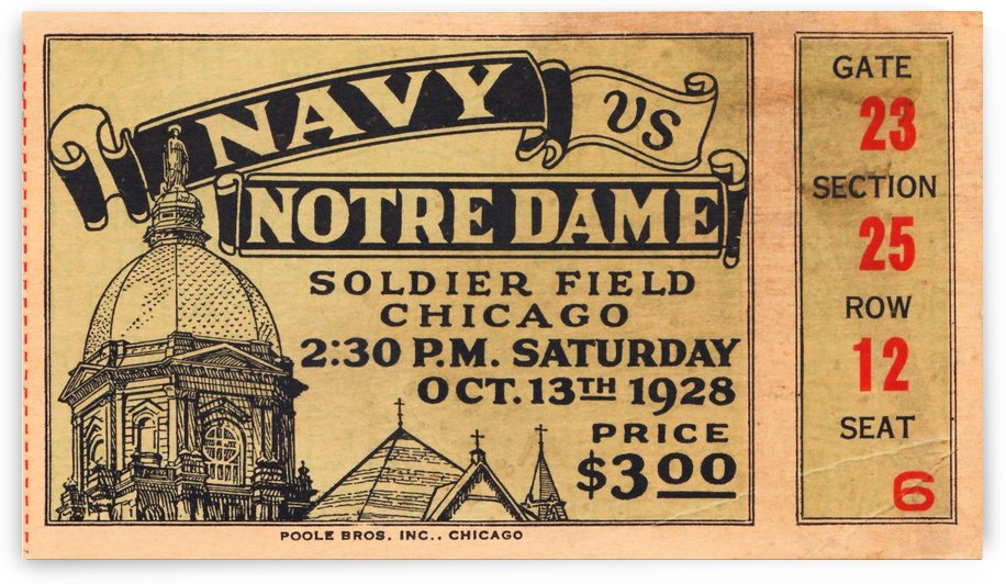 1928 Navy Notre Dame Irish College Football Ticket Stub College Wall Art by Row One Brand