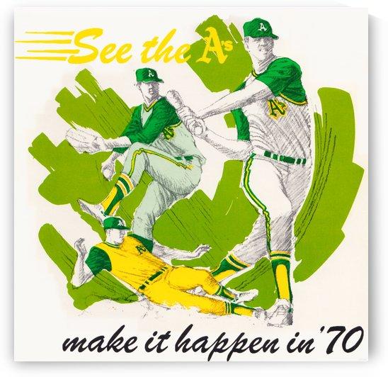 1970 oakland as baseball wood art print by Row One Brand