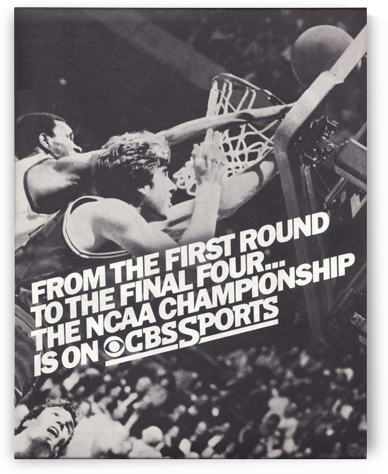1982 CBS Sports NCAA Basketball Championship Retro Sports Ad Poster by Row One Brand