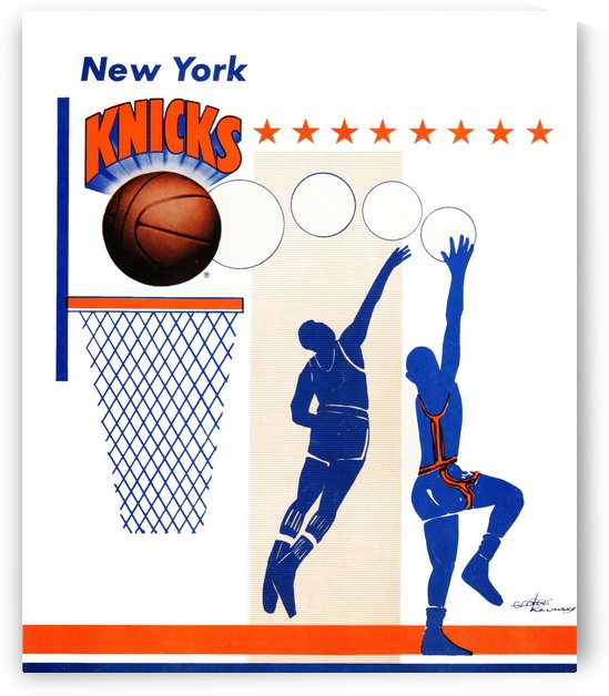 George Kalinsky Art Vintage New York Knicks Poster Reproduction Sports Art by Row One Brand