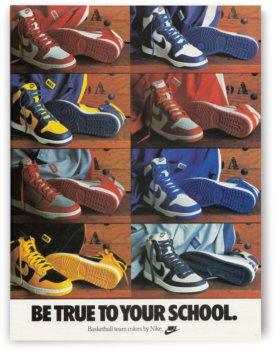 Retro Nike Shoes 1987 Nike Shoe Ad Be True to Your School Row One Reproduction Print by Row One Brand