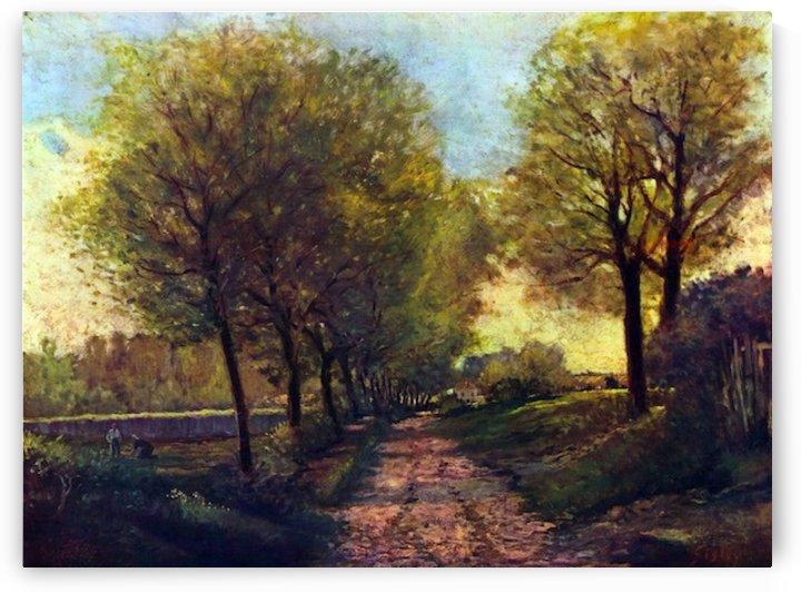 Lane near a small Town by Sisley by Sisley