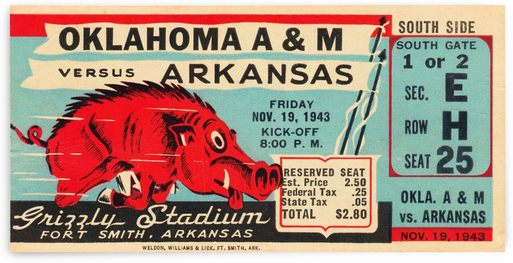 1943 Arkansas Razorback Football Ticket Stub Canvas Art by Row One Brand