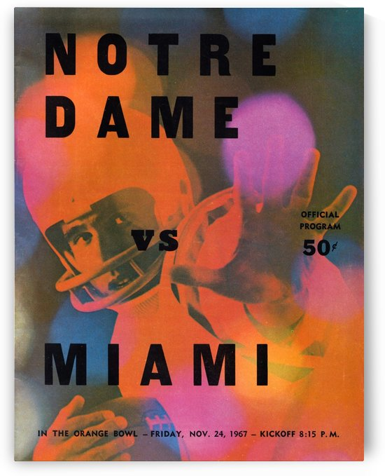 1967 notre dame miami hurricanes football program wall art by Row One Brand