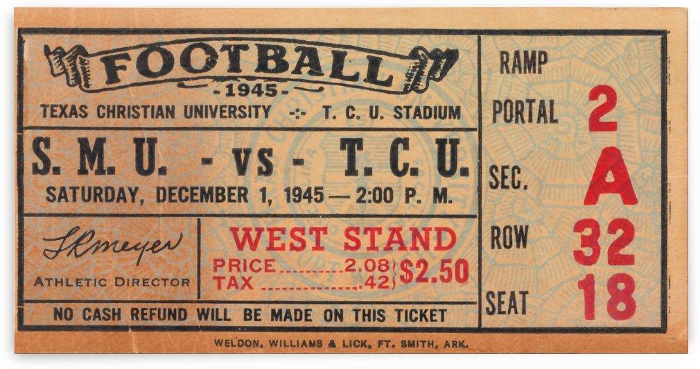 1945 smu tcu texas christian university football ticket stub canvas historic print by Row One Brand