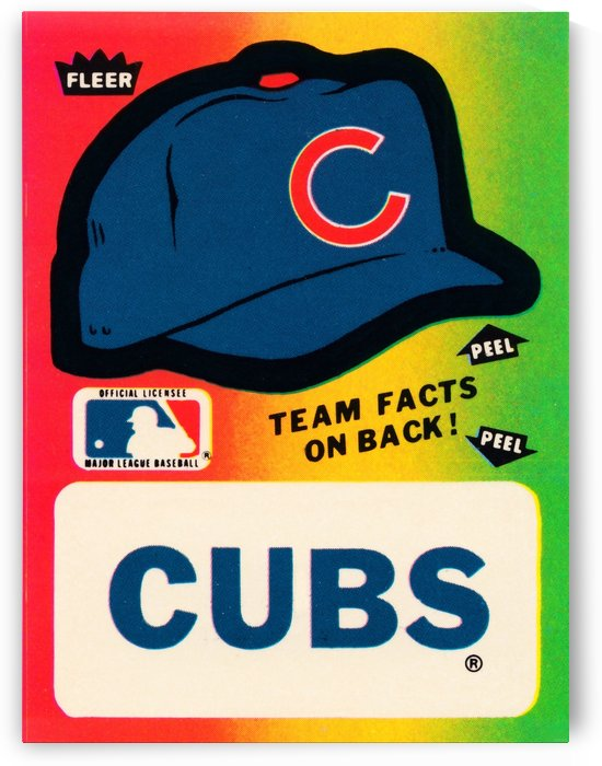 1983 fleer stickers major league baseball team chicago cub ballcap art print by Row One Brand