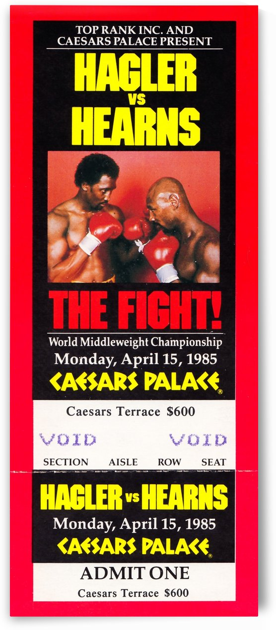 1985 hagler hearns boxing match caesars palace las vegas the fight by Row One Brand