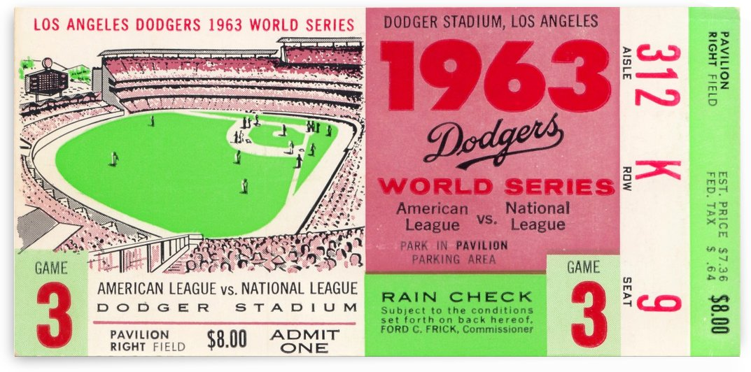 1963 world series ticket stub art la dodgers home decor by Row One Brand
