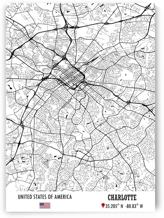 Charlotte USA Map by Artistic Paradigms