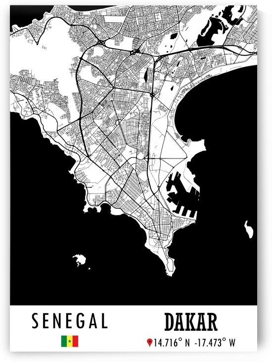 Dakar SENEGAL Map by Artistic Paradigms