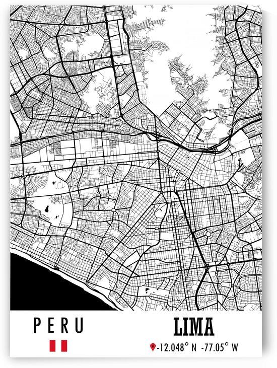 Lima PERU Map by Artistic Paradigms