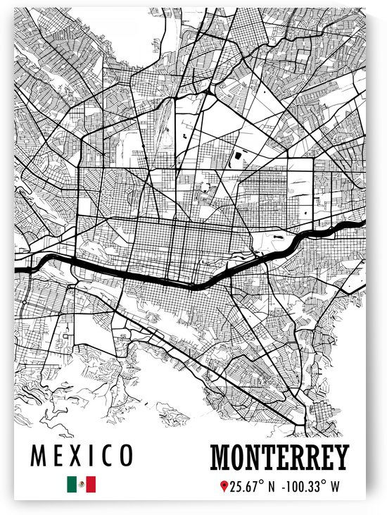 Monterrey MEXICO Map by Artistic Paradigms
