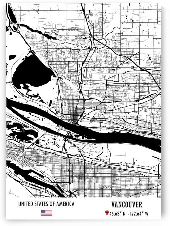 Vancouver USA Map by Artistic Paradigms