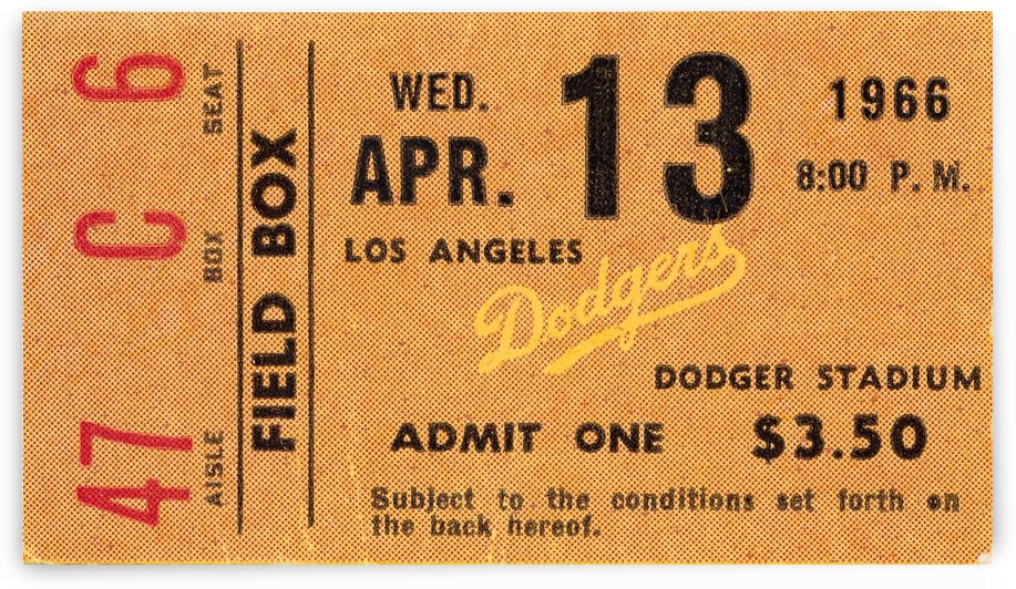1966 la dodgers baseball ticket stub canvas art by Row One Brand